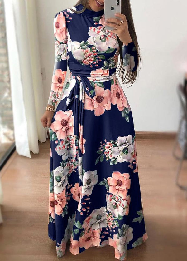 Printed Long Sleeve Round Neck Maxi Dress