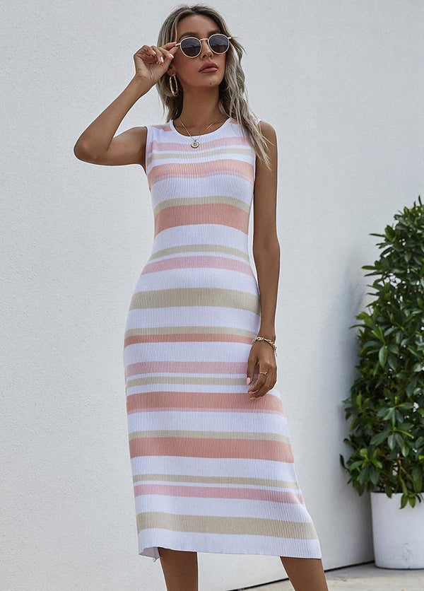 Striped Round Neck Sleeveless Dress