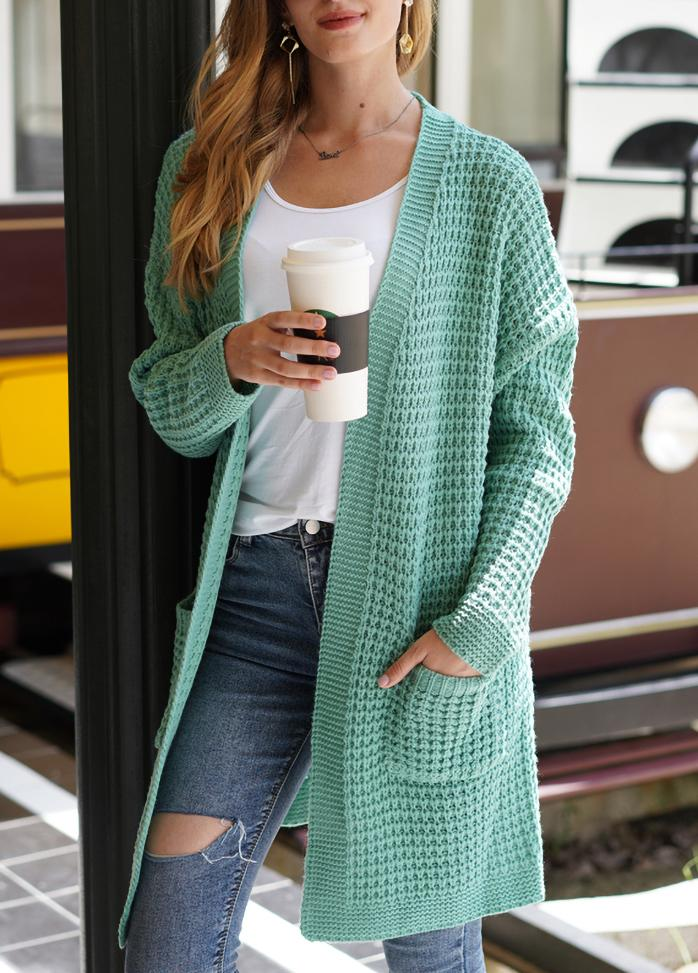 Round Neck Long Sleeve Casual Solid Color Cardigan