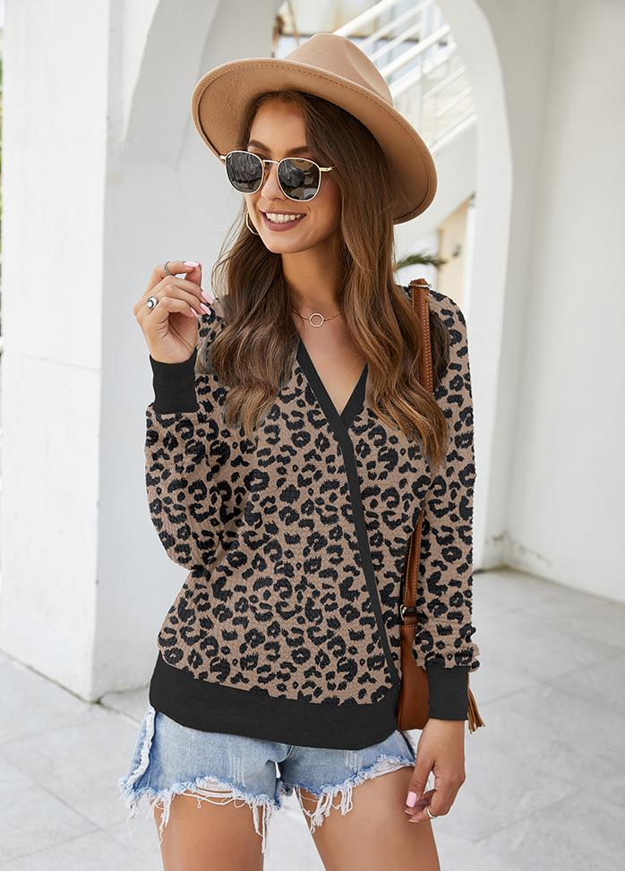V Neck Printed Long Sleeve Top