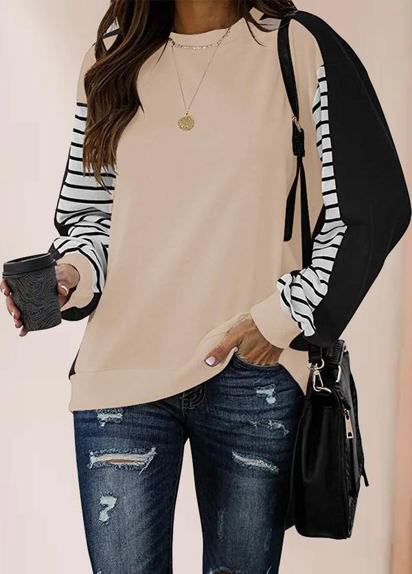 Long Sleeve Patchwork Casual T-shirt