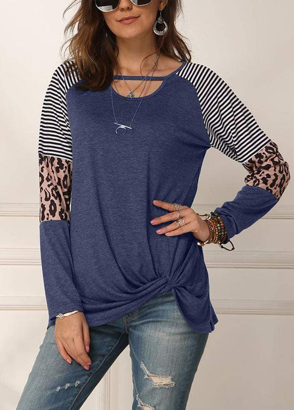 Cut Out Side Knot T-shirt Blue / S 2002260331721