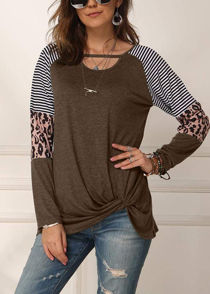 Cut Out Side Knot T-shirt Brown / S 2002260331716