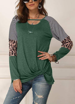 Cut Out Side Knot T-shirt Green / S 2002260331701