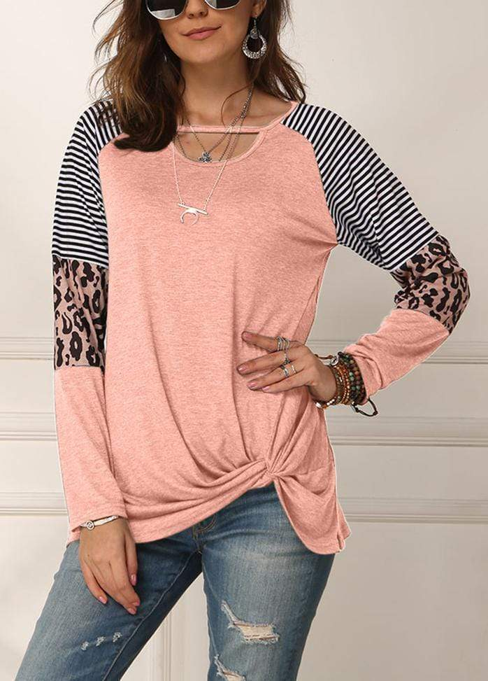 Cut Out Side Knot T-shirt Pink / S 2002260331711
