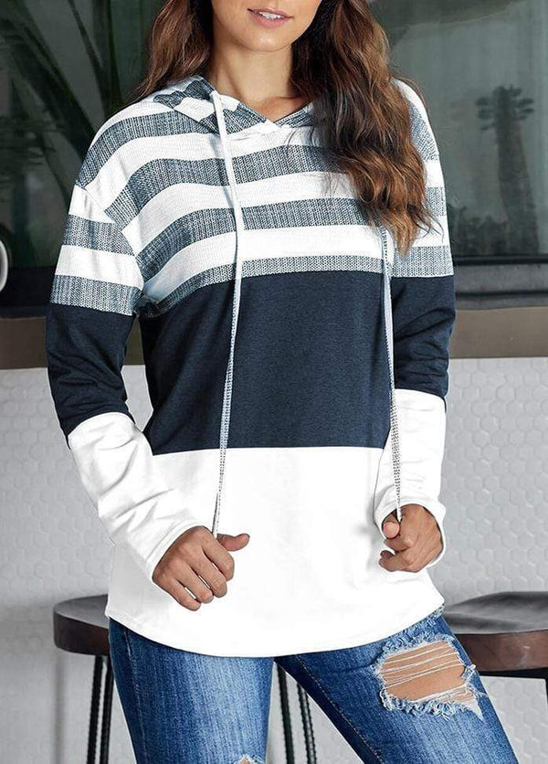 Drawstring Striped Long Sleeve Hoodie White / S 1908070301001