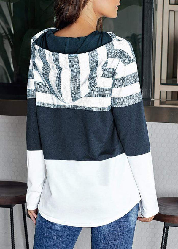 Drawstring Striped Long Sleeve Hoodie