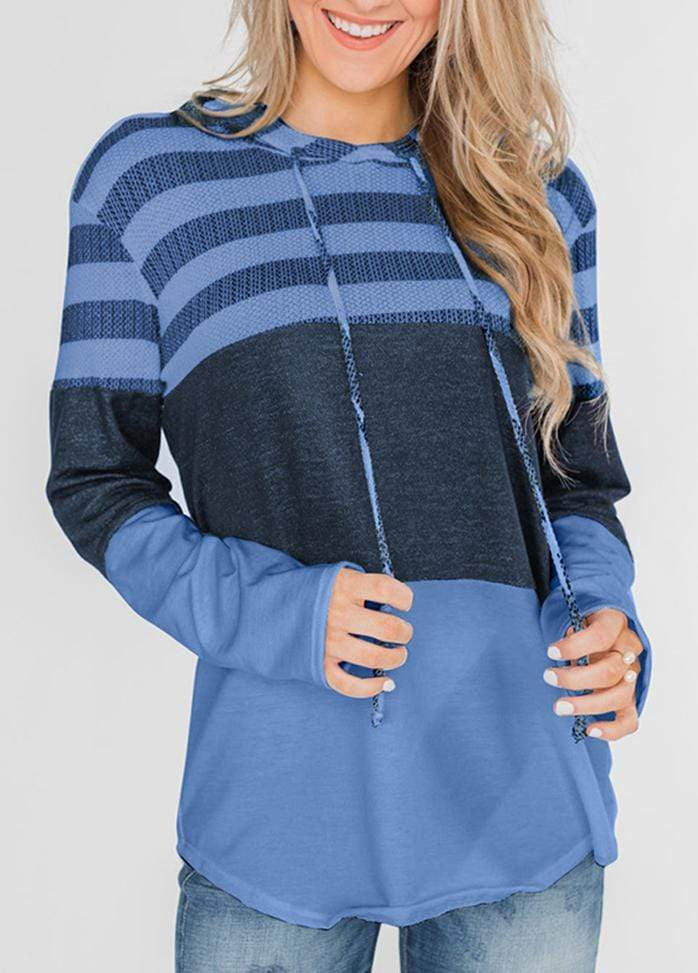 Drawstring Striped Long Sleeve Hoodie Blue / S 1908070301016