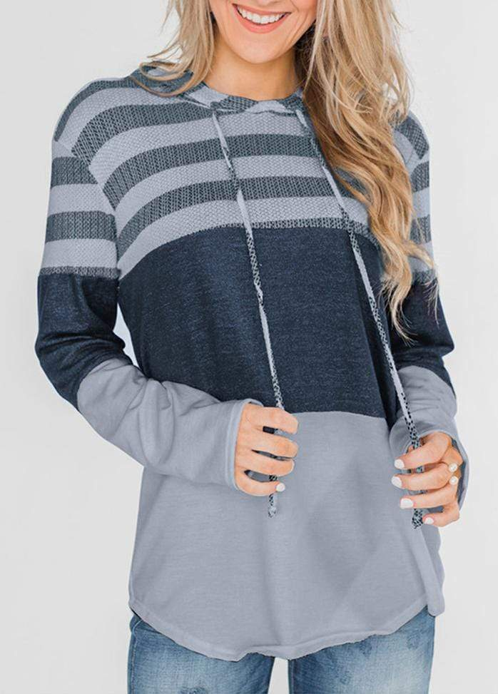 Drawstring Striped Long Sleeve Hoodie Gray / S 1908070301026
