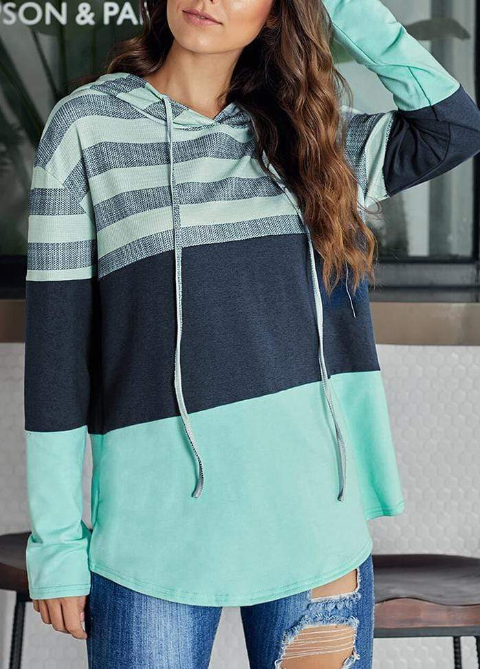 Drawstring Striped Long Sleeve Hoodie Green / S 1908070301006