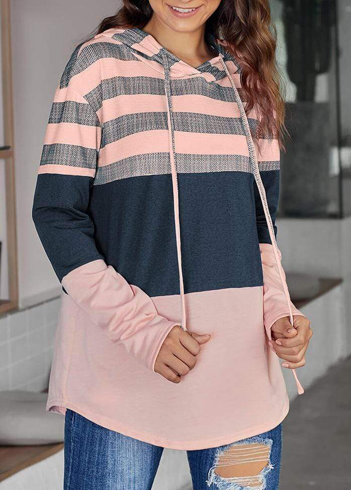 Drawstring Striped Long Sleeve Hoodie LightRed / S 1908070301036