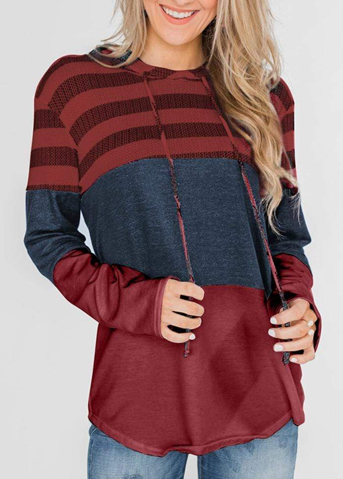 Drawstring Striped Long Sleeve Hoodie Red / S 1908070301021