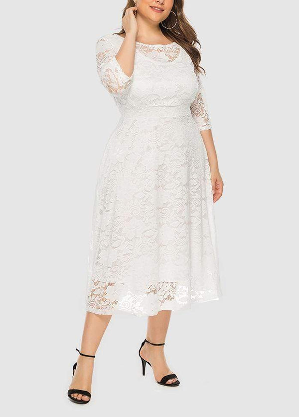 Lace Three Quarter Sleeve Round Neck Solid Color Dress