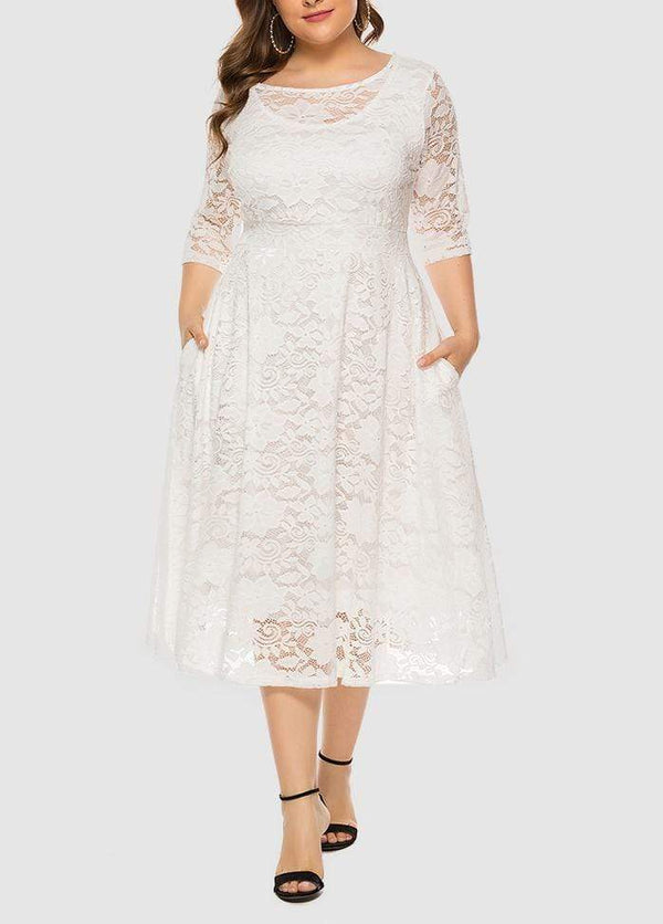 Lace Three Quarter Sleeve Round Neck Solid Color Dress White / 0X 2003040736701