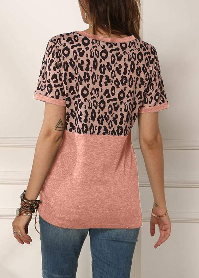 Leopard Patchwork Side Knot T-shirt