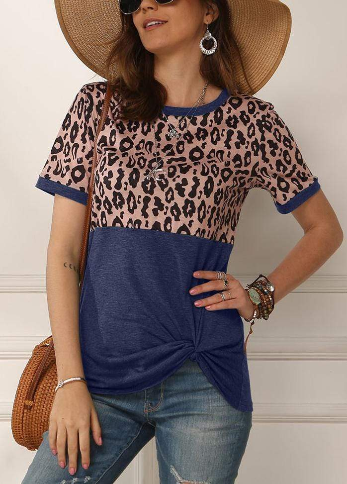 Leopard Patchwork Side Knot T-shirt Blue / S 2002260331821