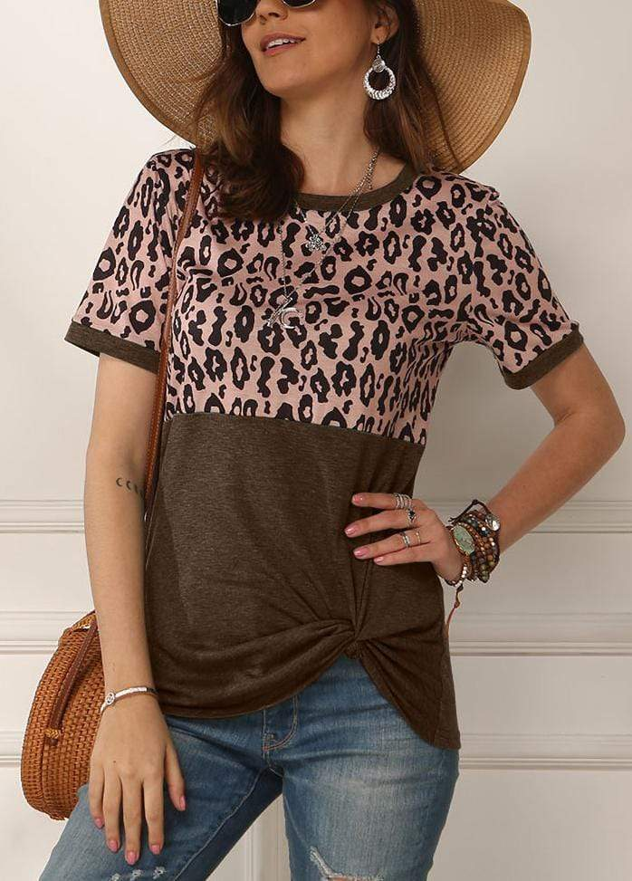 Leopard Patchwork Side Knot T-shirt Brown / S 2002260331826