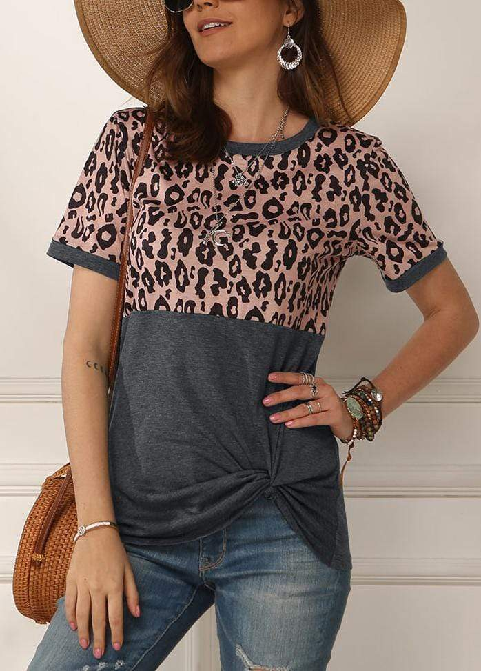 Leopard Patchwork Side Knot T-shirt Gray / S 2002260331811