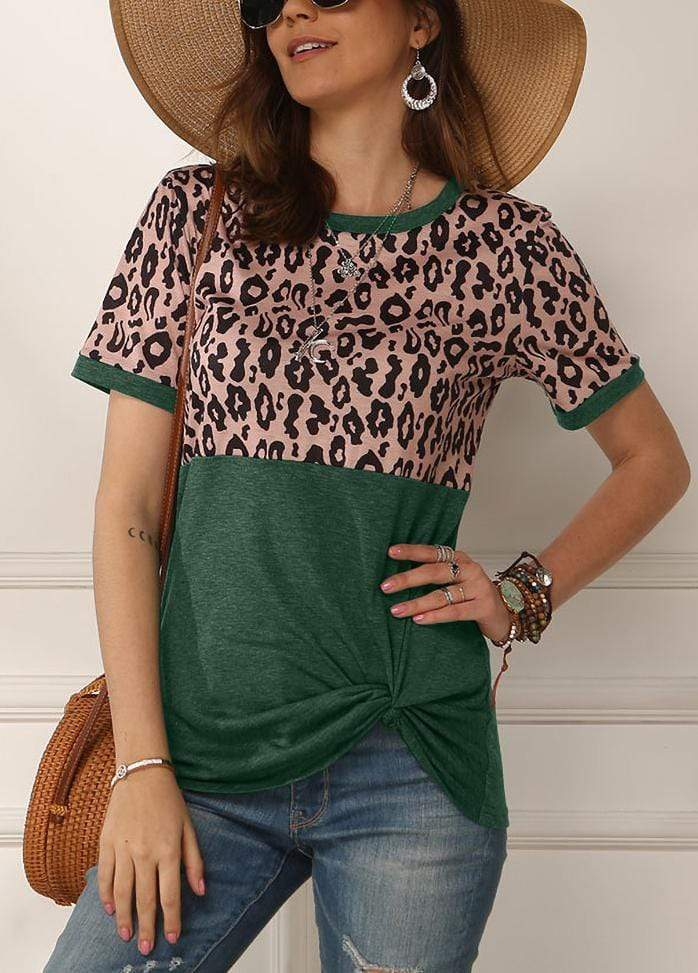 Leopard Patchwork Side Knot T-shirt Green / S 2002260331806