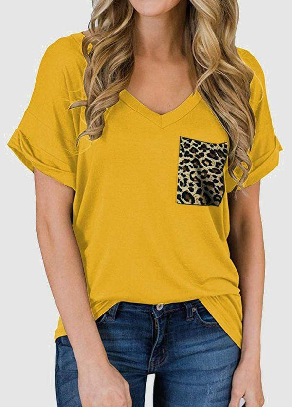 Leopard Printed Patchwork Pocket Design Short Sleeve T-shirt
