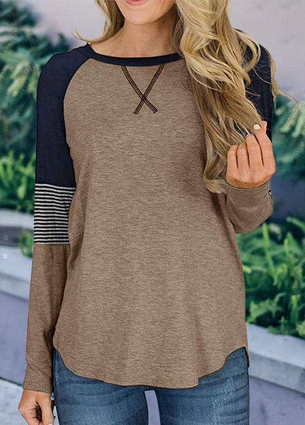 Long Sleeve Cross Front Patchwork T-shirt Khaki / S 2002240302321