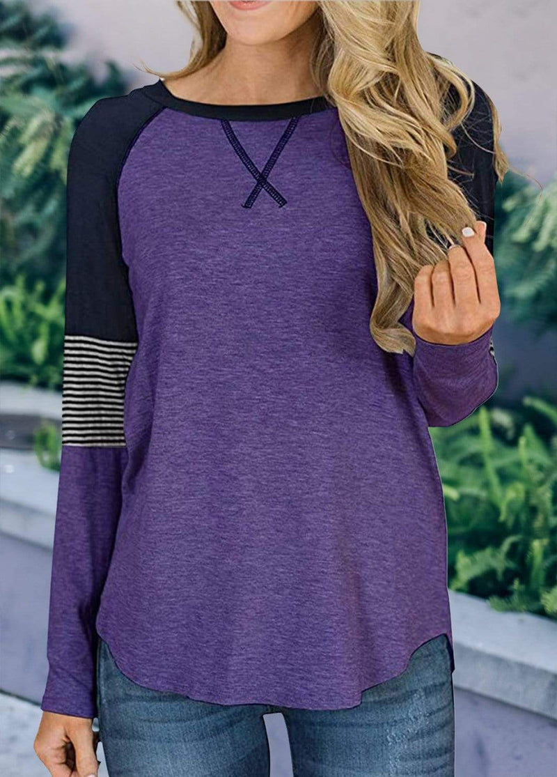 Long Sleeve Cross Front Patchwork T-shirt Purple / S 2002240302311