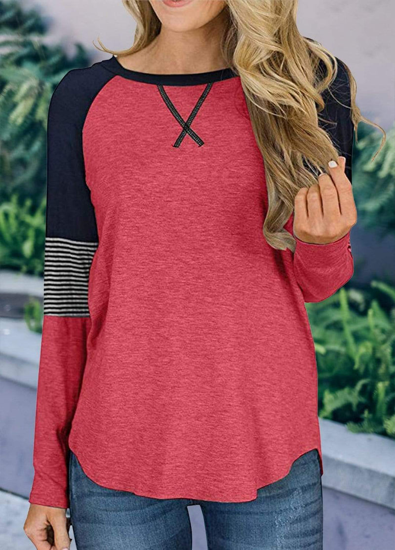 Long Sleeve Cross Front Patchwork T-shirt Red / S 2002240302316