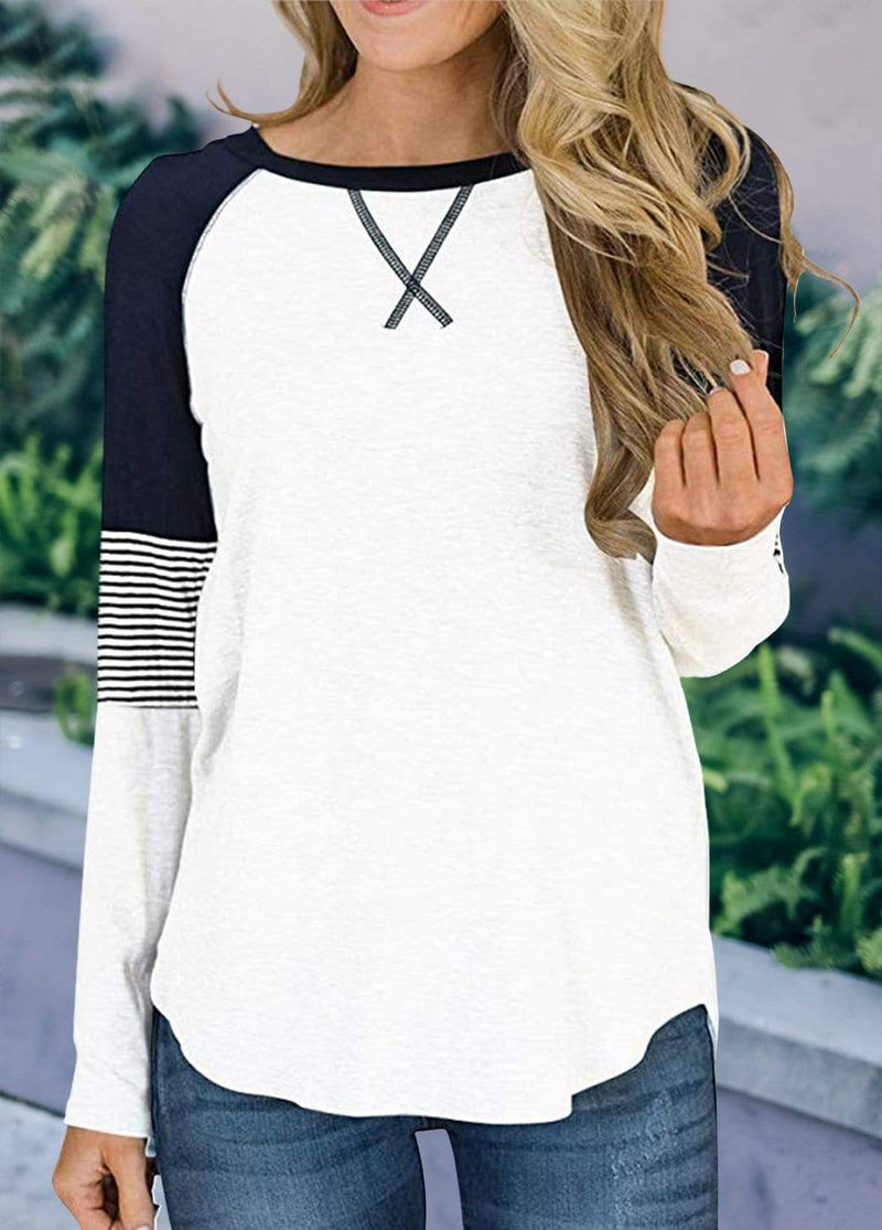 Long Sleeve Cross Front Patchwork T-shirt White / S 2002240302326