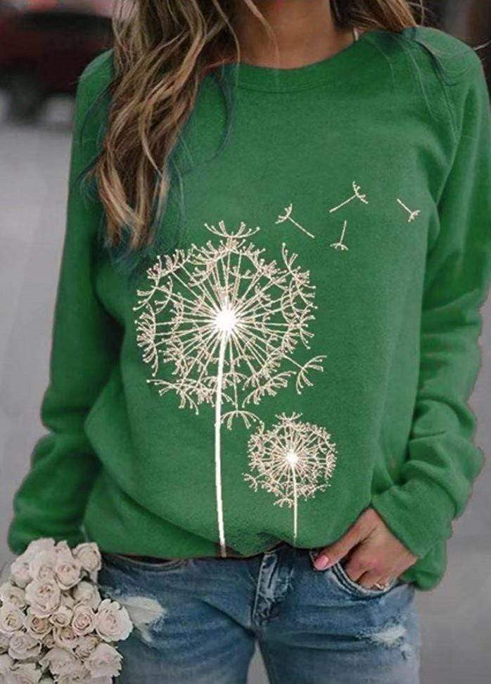 Printed Long Sleeve Round Neck Blouse Green / S 2002240330113