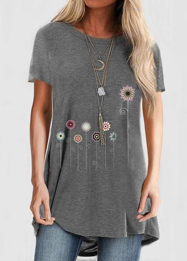 Printed Short Sleeve Round Neck T-shirt Gray / S 2002240330706
