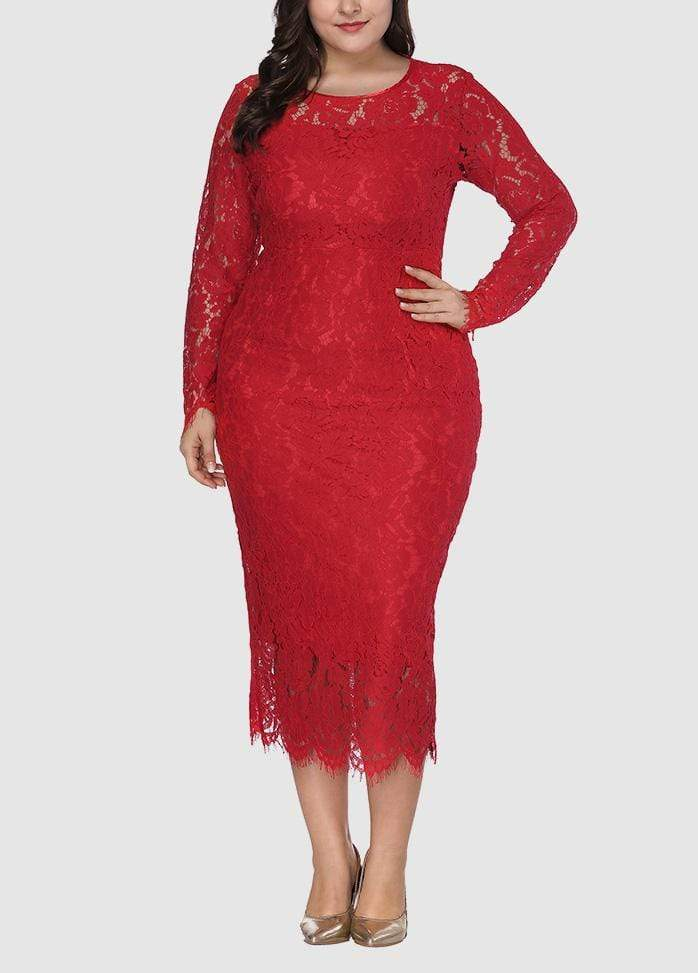 Round Neck Solid Color Long Sleeve Dress Red / 0X 2003040734807