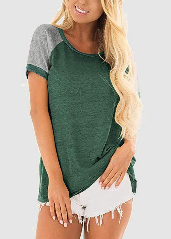 Short Sleeve Round Neck Patchwork T-shirt Green / S 2002240306207