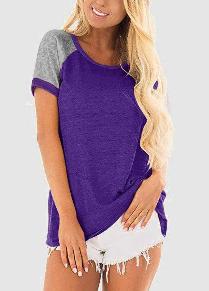Short Sleeve Round Neck Patchwork T-shirt Purple / S 2002240306213