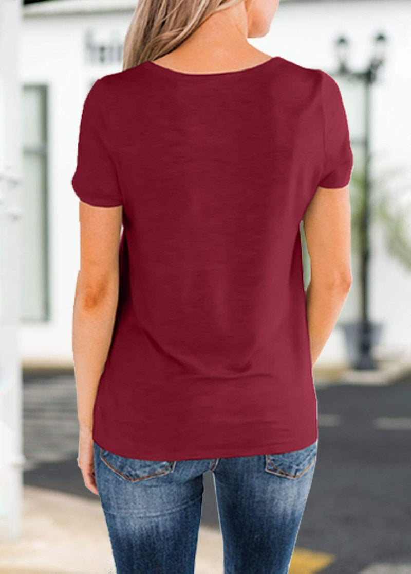 Solid Color Pocket Design T-shirt