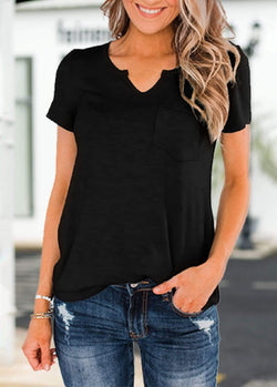 Solid Color Pocket Design T-shirt Black / S 2002240300701