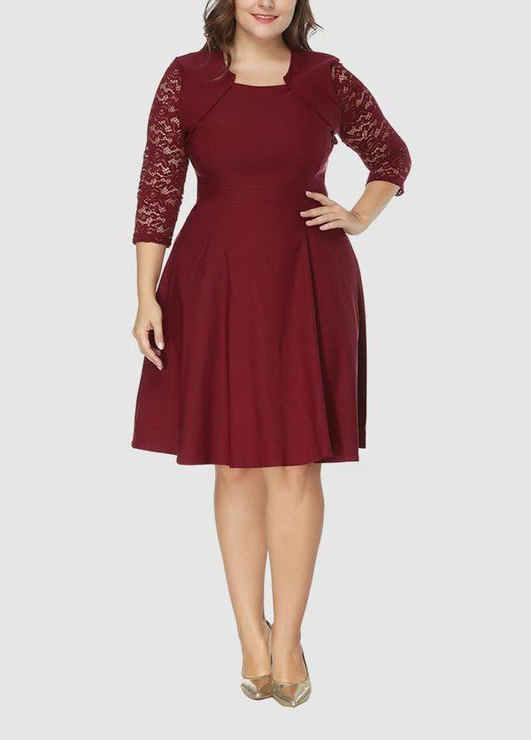 Solid Color Three Quarter Sleeve Lace Patchwork Dress WineRed / 0X 2003040736801