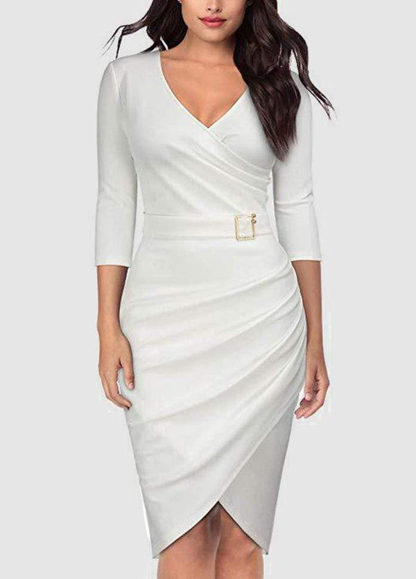 V Neck Three Quarter Sleeve Solid Color Dress White / XS 2003040133301