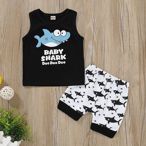 Fashion Summer Baby Boys clothes Sets Sleeveless Cartoon Shark Vest+Shorts Children Casual Outfits