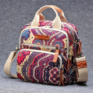 Canvas Colorful Mommy Diaper Bag Backpack/Handbag/Shoulder Three-In-One Bag