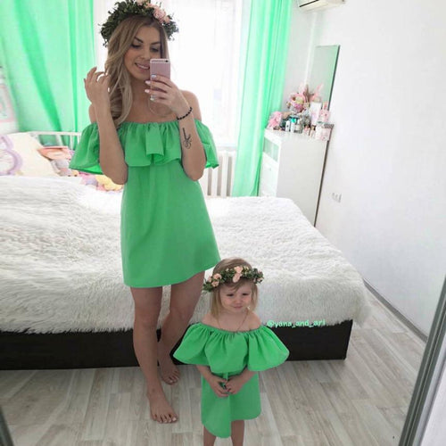 Mother & Daughter Off Shoulder Princess Summer Dress