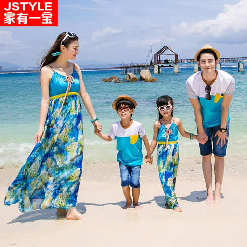 Matching Family Summer Outfits Maxi Dress / T Shirts