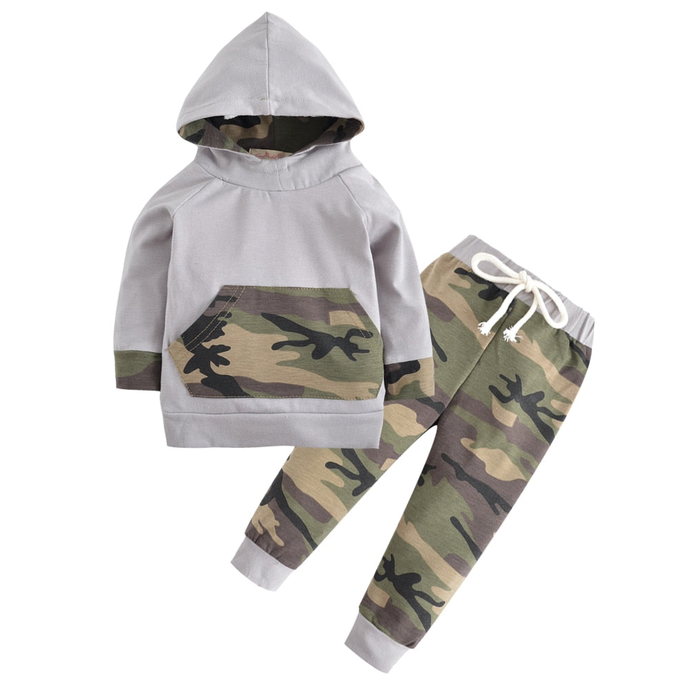 2PCS Kids Clothing Newborn Toddler Baby Boys Clothes Set Tops Hooded Warm + Long Pants Casual