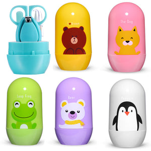 4pcs Cartoon Animal Baby Nail Care Set & Storage Box for Travel