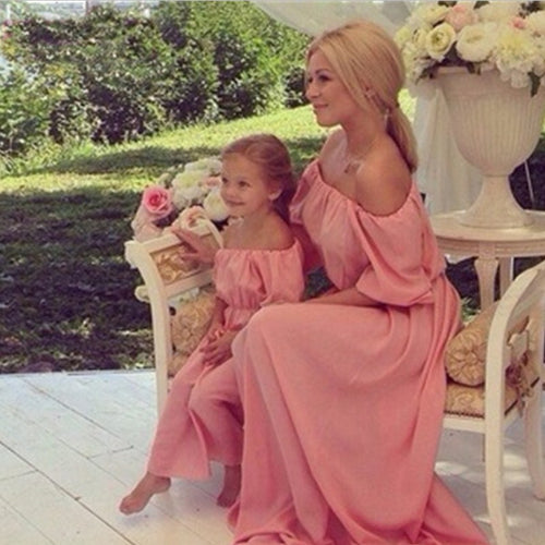 Flowing Full length Mother & Daughter Off Shoulder Elegant Party Dress