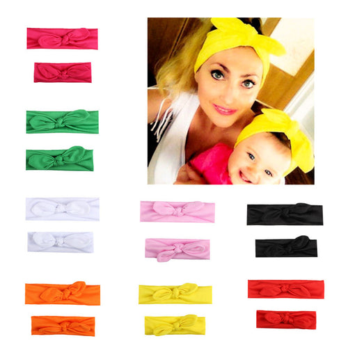 1 Set Mommy and Me Elastic Newborn Headband Bow (2PCS)
