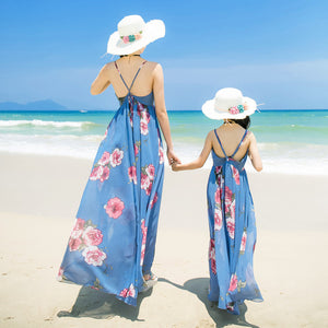 Mother & Daughter Bohemian Style Backless Beach Maxi Dress