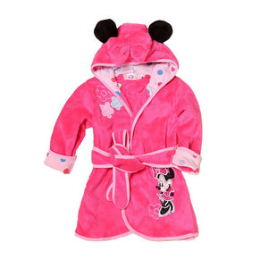 Cartoon Children's Robe Flannel Baby Bathrobe Long Sleeve Hooded Kids Bath Robe