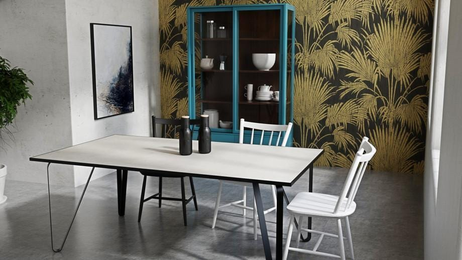 Ceramic tile table with black legs and italian tiles - Alejandro