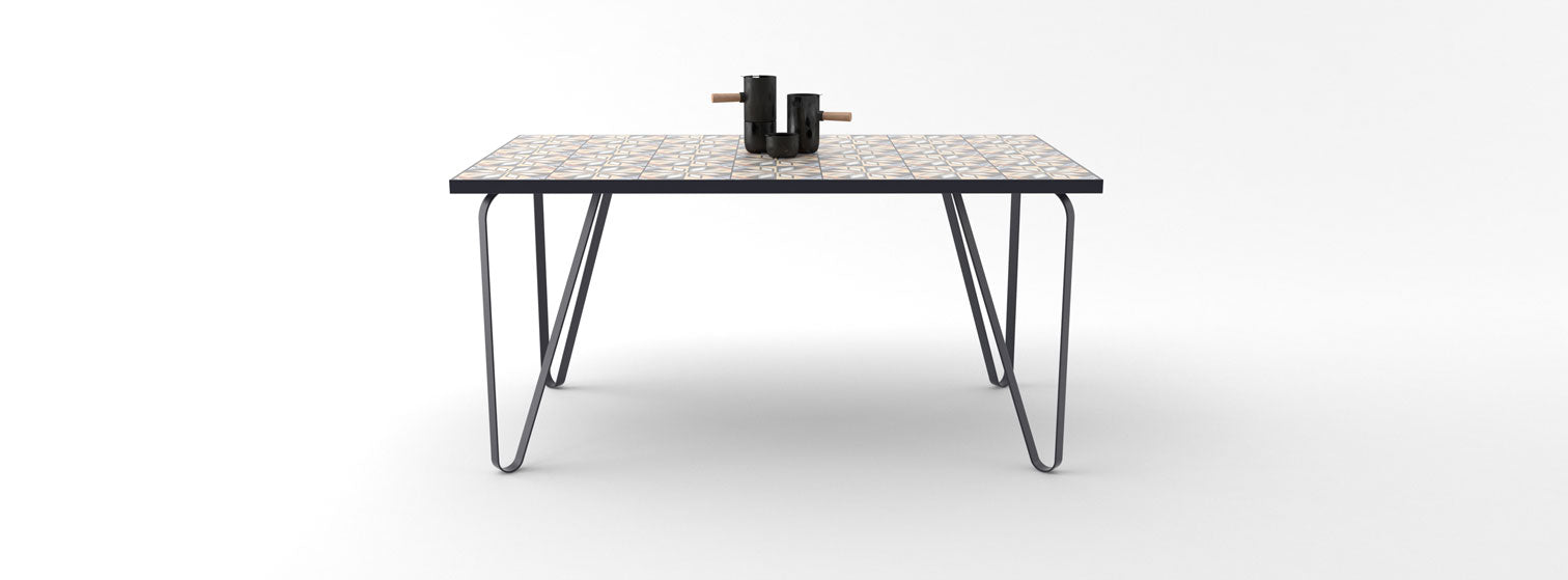 Ceramic tile table with black legs and italian tiles - Luciano