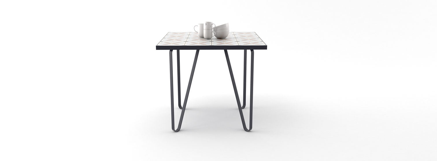 Ceramic tile table with black legs and italian tiles - Silvia